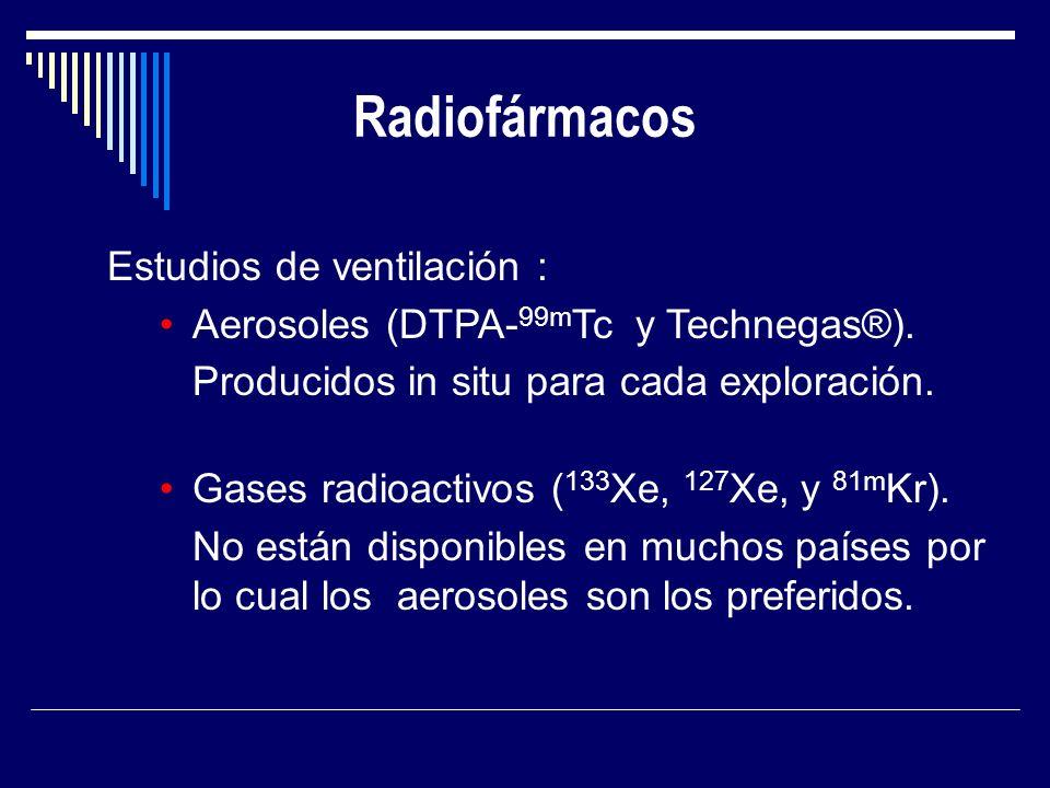 Radiofármacos Estudios de ventilación : Aerosoles (DTPA- 99m Tc y Technegas®). Producidos in situ para cada exploración. Gases radioactivos ( 133 Xe,