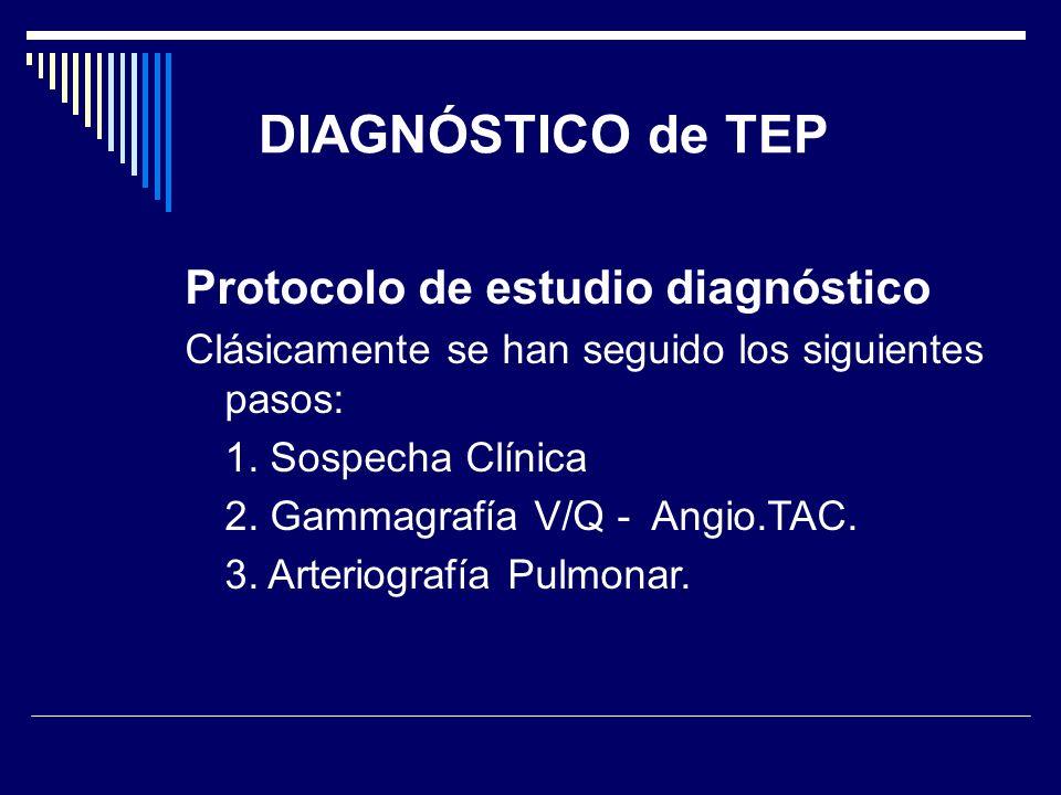 DIAGNÓSTICO de TEP Protocolo de estudio diagnóstico Clásicamente se han seguido los siguientes pasos: 1. Sospecha Clínica 2. Gammagrafía V/Q - Angio.T
