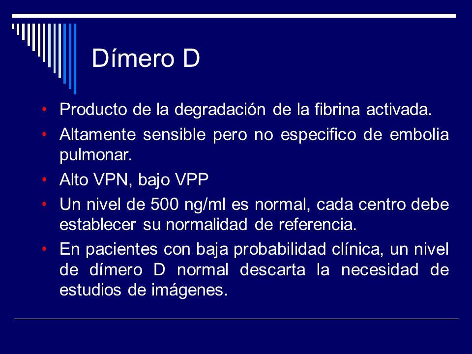 Producto de la degradación de la fibrina activada. Altamente sensible pero no especifico de embolia pulmonar. Alto VPN, bajo VPP Un nivel de 500 ng/ml