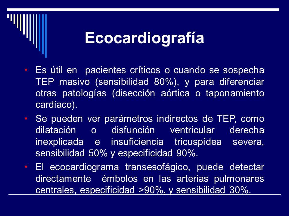 Ecocardiografía Es útil en pacientes críticos o cuando se sospecha TEP masivo (sensibilidad 80%), y para diferenciar otras patologías (disección aórti
