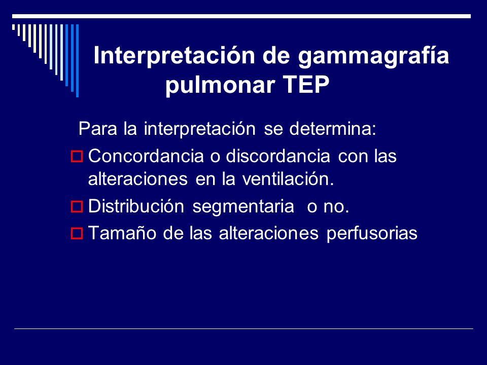 Para la interpretación se determina: Concordancia o discordancia con las alteraciones en la ventilación. Distribución segmentaria o no. Tamaño de las