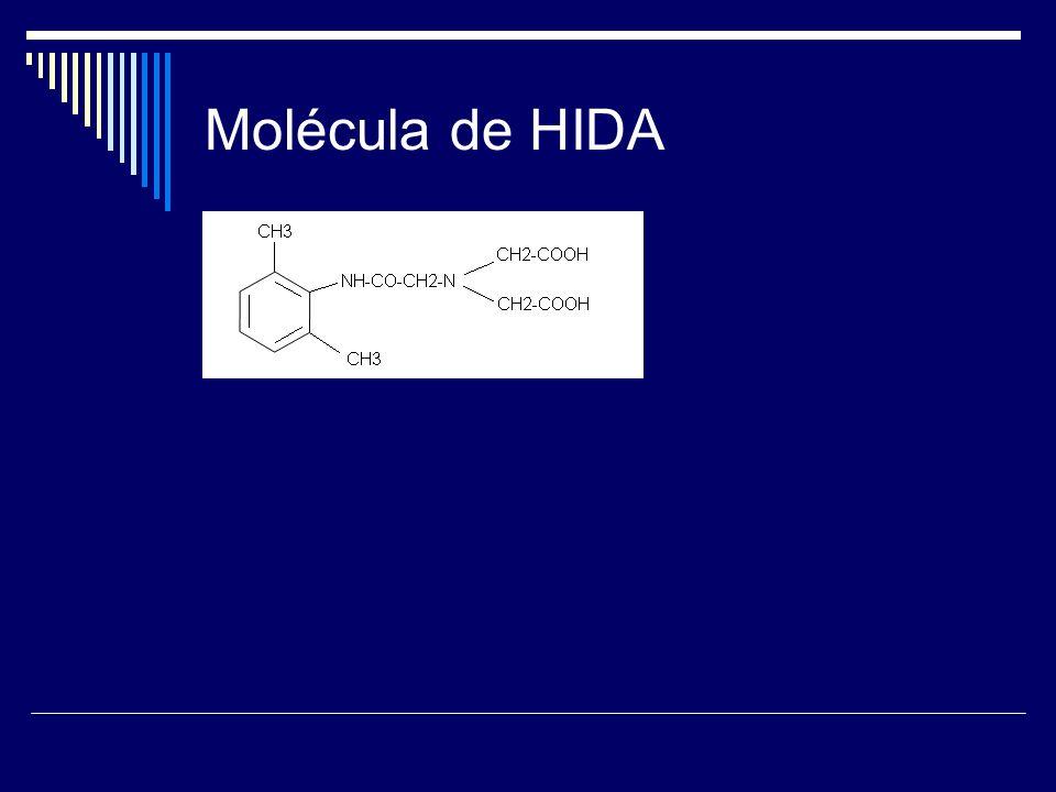 HIDA Múltiples derivados por sustitución en anillo aromático Son aniones orgánicos que actúan como quelatos bifuncionales.