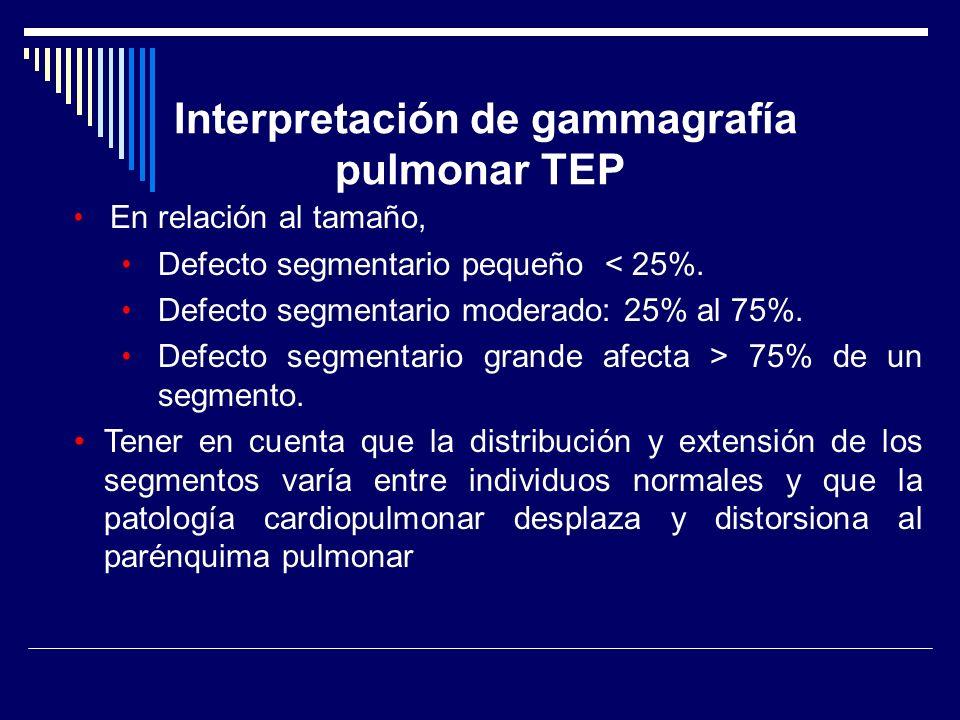 Interpretación de gammagrafía pulmonar TEP En relación al tamaño, Defecto segmentario pequeño < 25%. Defecto segmentario moderado: 25% al 75%. Defecto