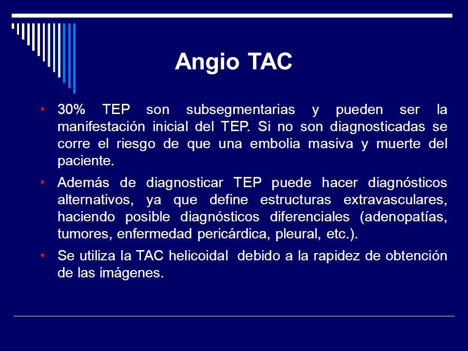 30% TEP son subsegmentarias y pueden ser la manifestación inicial del TEP. Si no son diagnosticadas se corre el riesgo de que una embolia masiva y mue