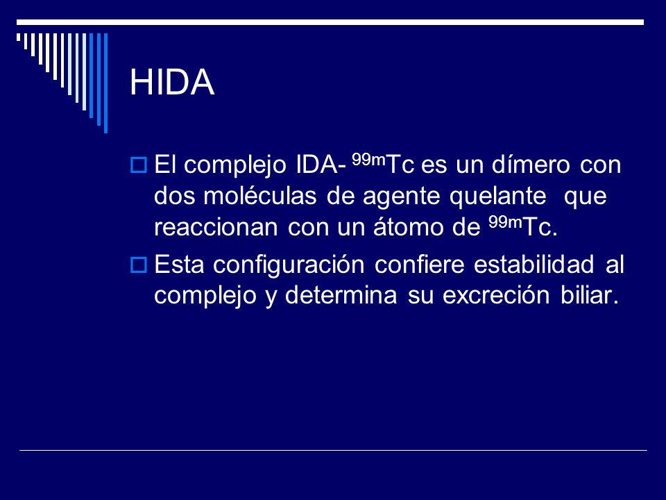 HIDA El complejo IDA- 99m Tc es un dímero con dos moléculas de agente quelante que reaccionan con un átomo de 99m Tc. Esta configuración confiere esta
