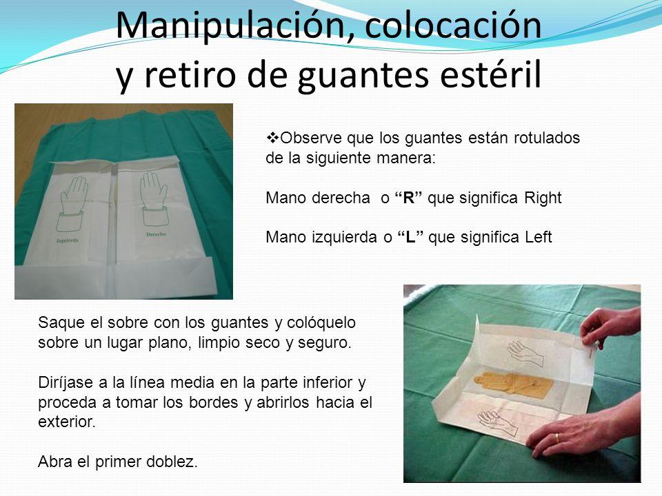 Manipulación, colocación y retiro de guantes estéril Observe que los guantes están rotulados de la siguiente manera: Mano derecha o R que significa Ri