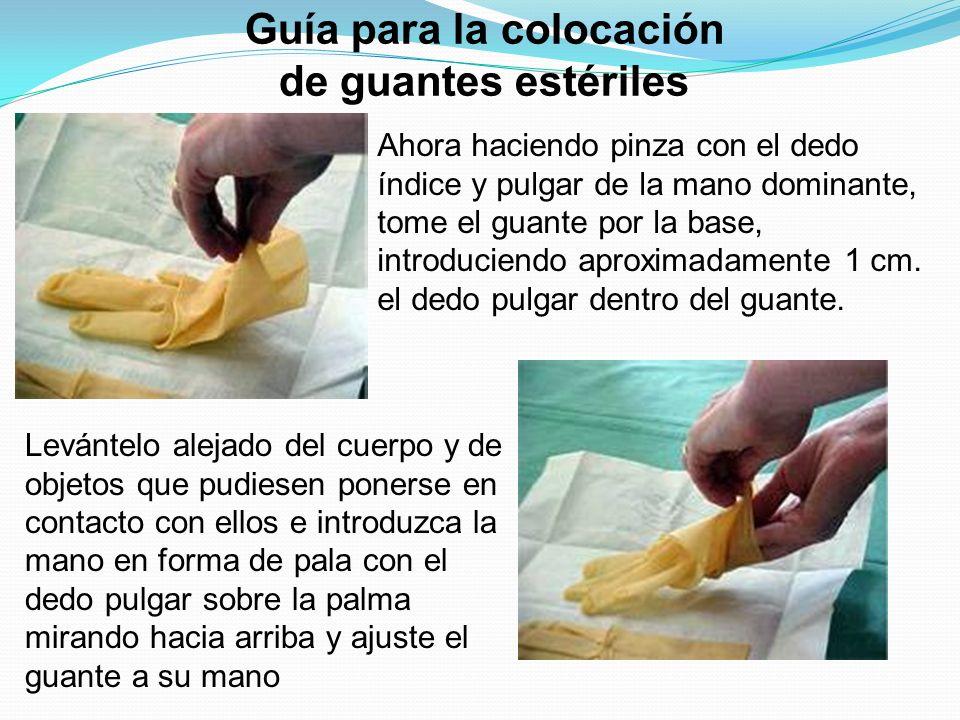 Guía para la colocación de guantes estériles Ahora haciendo pinza con el dedo índice y pulgar de la mano dominante, tome el guante por la base, introd