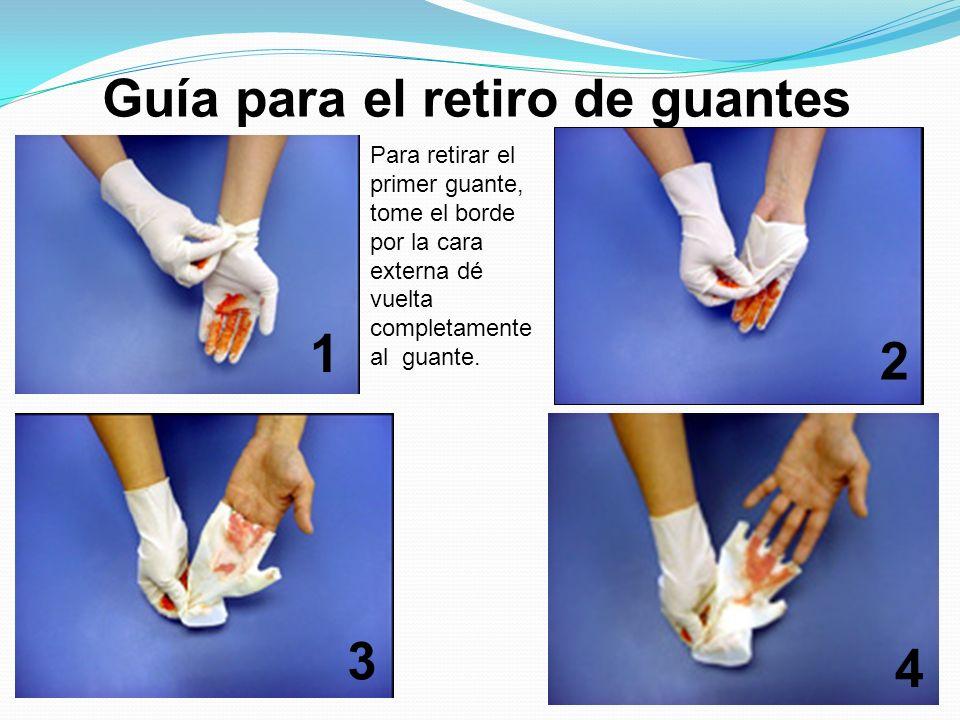Guía para el retiro de guantes Para retirar el primer guante, tome el borde por la cara externa dé vuelta completamente al guante. 1 2 3 4