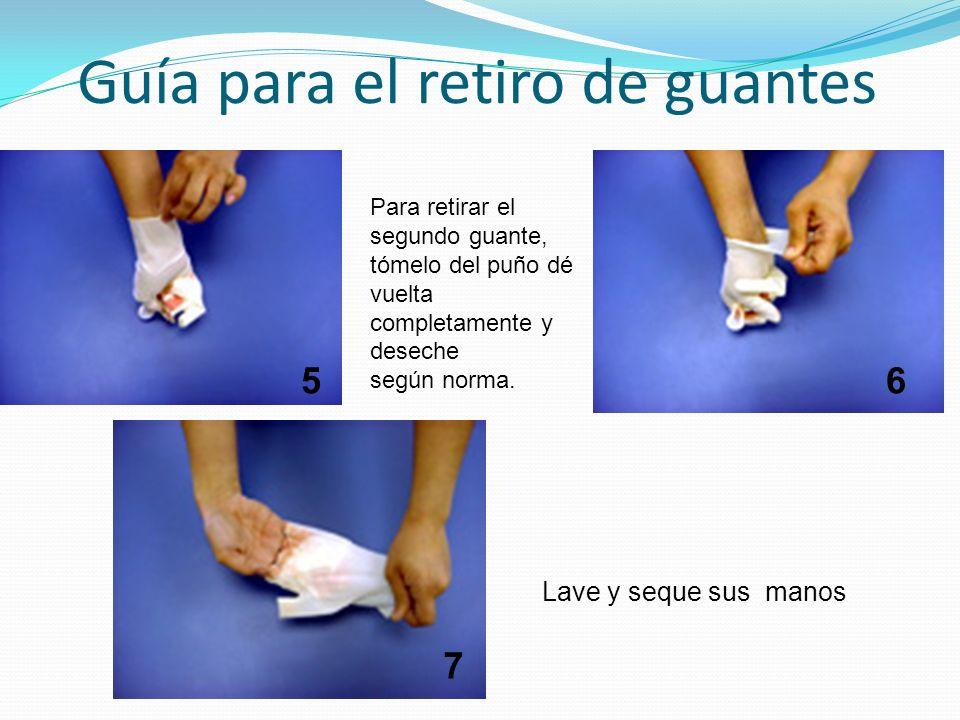 Guía para el retiro de guantes Para retirar el segundo guante, tómelo del puño dé vuelta completamente y deseche según norma. Lave y seque sus manos 5