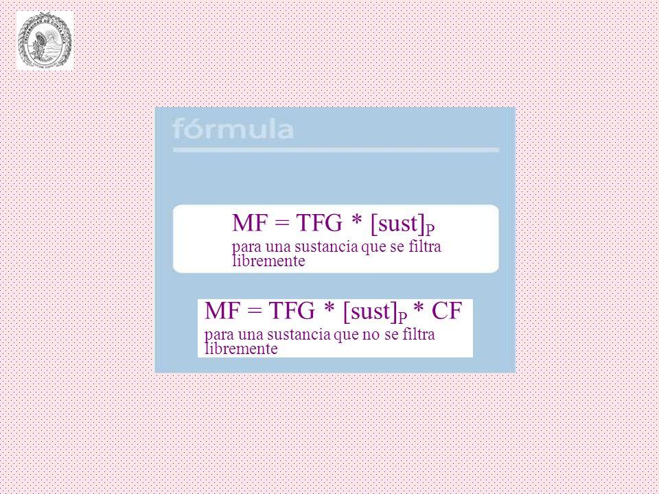 MF = TFG * [sust] P para una sustancia que se filtra libremente MF = TFG * [sust] P * CF para una sustancia que no se filtra libremente