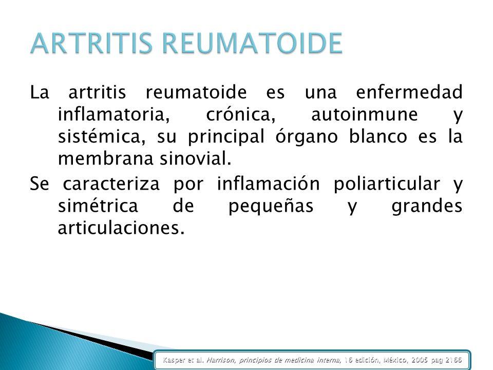 La artritis reumatoide es una enfermedad inflamatoria, crónica, autoinmune y sistémica, su principal órgano blanco es la membrana sinovial. Se caracte