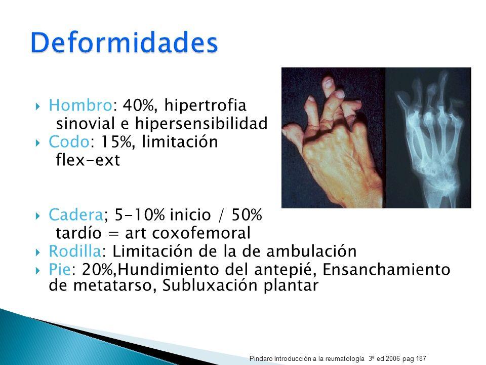 Hombro: 40%, hipertrofia sinovial e hipersensibilidad Codo: 15%, limitación flex-ext Cadera; 5-10% inicio / 50% tardío = art coxofemoral Rodilla: Limi