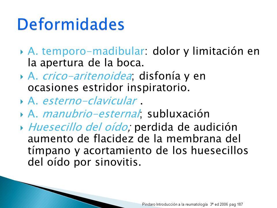 A. temporo-madibular: dolor y limitación en la apertura de la boca. A. crico-aritenoidea; disfonía y en ocasiones estridor inspiratorio. A. esterno-cl