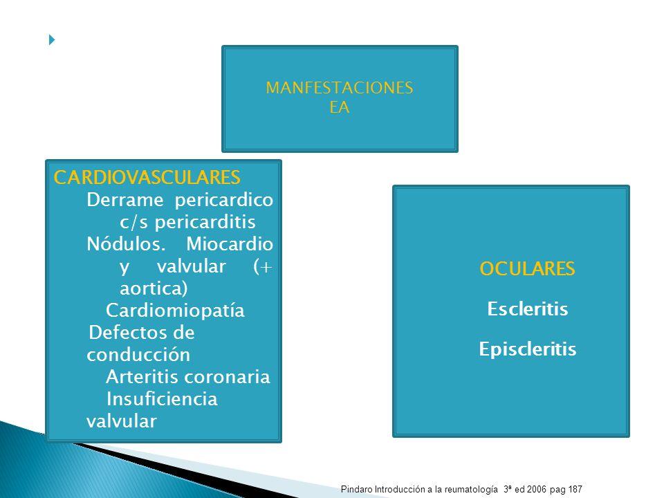 OCULARES Escleritis Episcleritis CARDIOVASCULARES Derrame pericardico c/s pericarditis Nódulos. Miocardio y valvular (+ aortica) Cardiomiopatía Defect