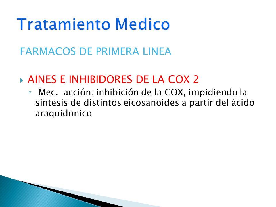 FARMACOS DE PRIMERA LINEA AINES E INHIBIDORES DE LA COX 2 Mec. acción: inhibición de la COX, impidiendo la síntesis de distintos eicosanoides a partir