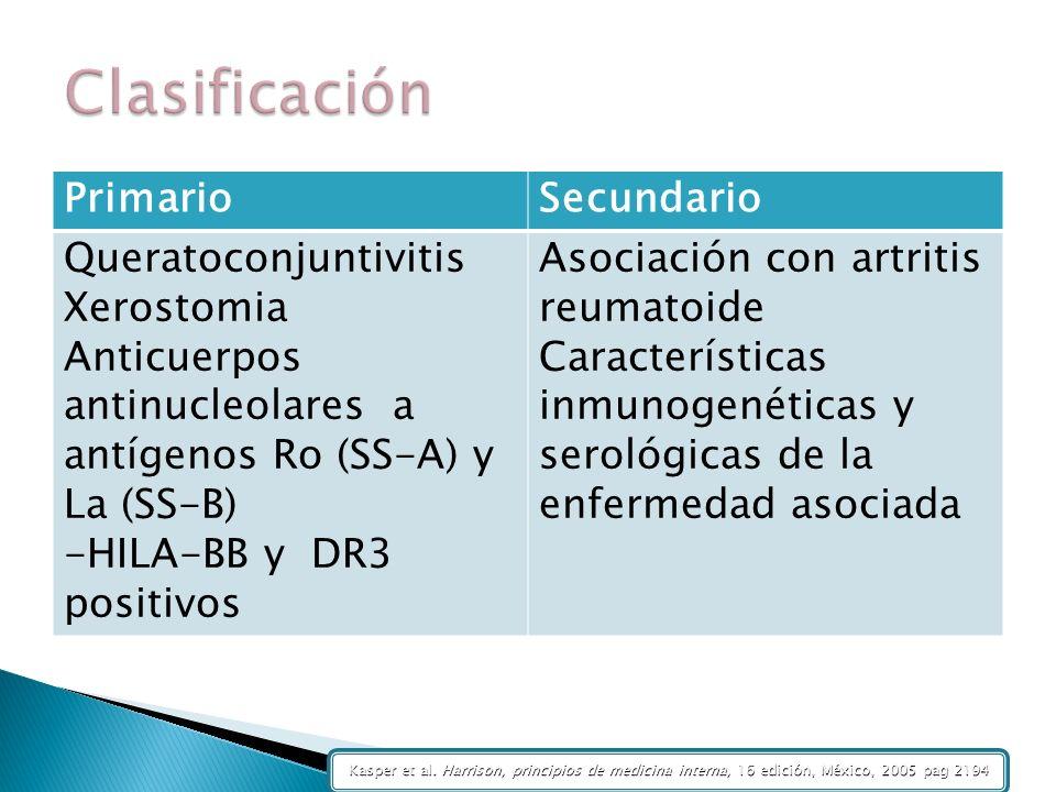 PrimarioSecundario Queratoconjuntivitis Xerostomia Anticuerpos antinucleolares a antígenos Ro (SS-A) y La (SS-B) -HILA-BB y DR3 positivos Asociación c