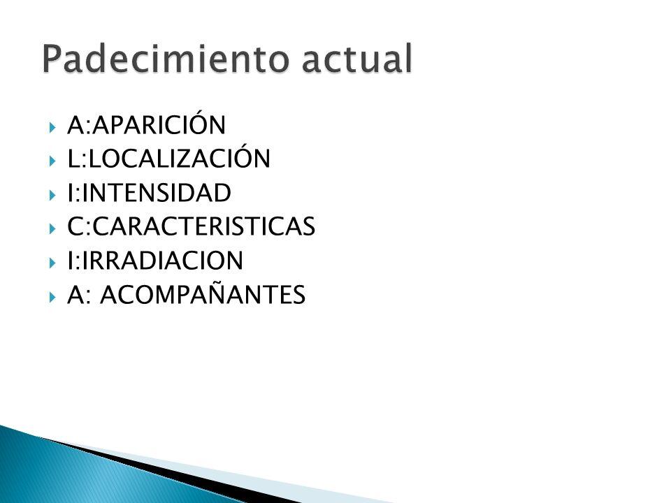 A:APARICIÓN L:LOCALIZACIÓN I:INTENSIDAD C:CARACTERISTICAS I:IRRADIACION A: ACOMPAÑANTES