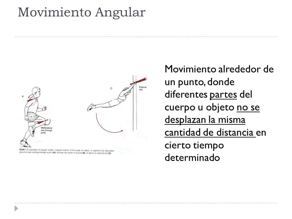 Movimiento Angular Movimiento alrededor de un punto, donde diferentes partes del cuerpo u objeto no se desplazan la misma cantidad de distancia en cie