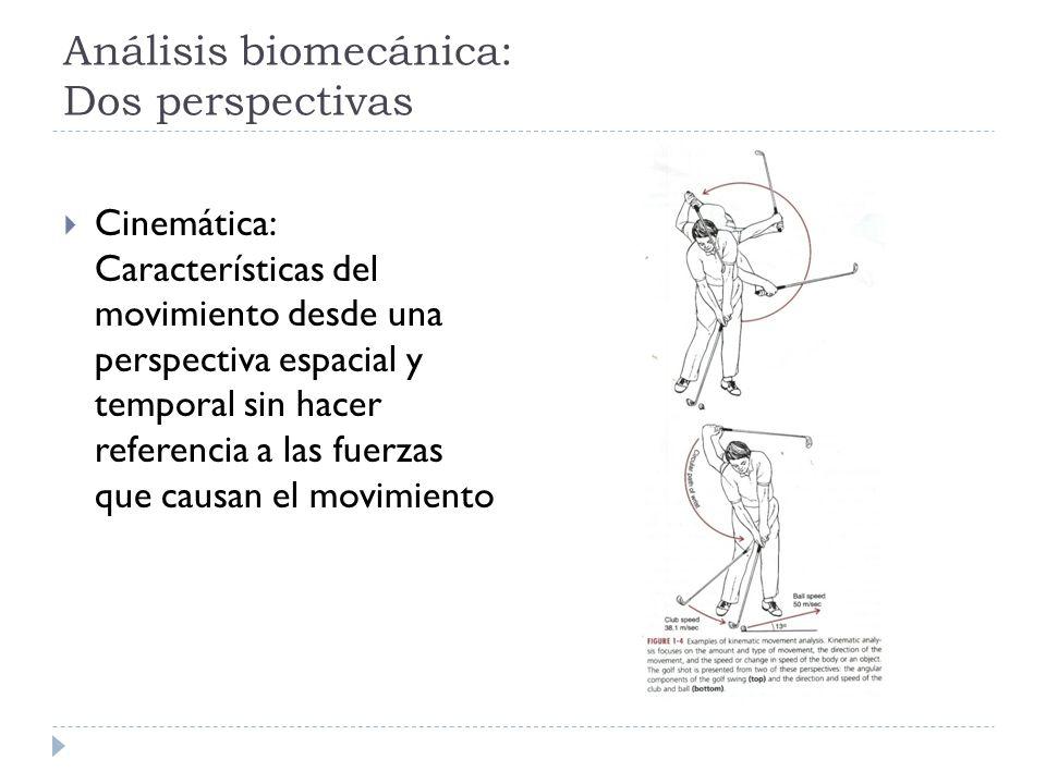 Análisis biomecánica: Dos perspectivas Cinemática: Características del movimiento desde una perspectiva espacial y temporal sin hacer referencia a las