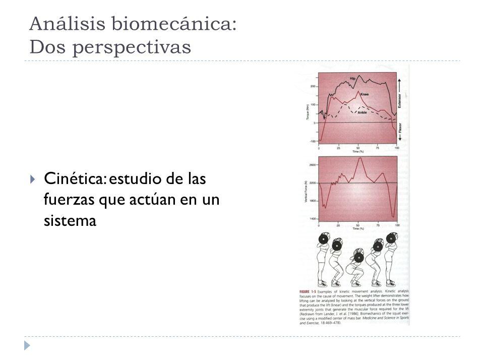 Análisis biomecánica: Dos perspectivas Cinética: estudio de las fuerzas que actúan en un sistema