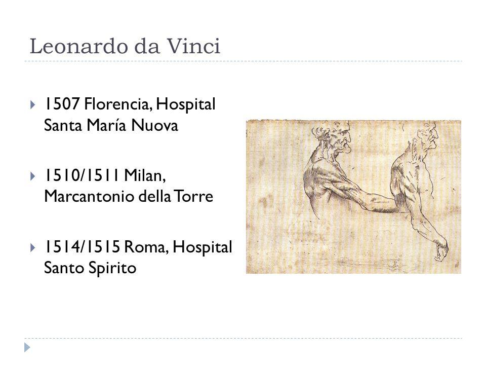 Leonardo da Vinci 1507 Florencia, Hospital Santa María Nuova 1510/1511 Milan, Marcantonio della Torre 1514/1515 Roma, Hospital Santo Spirito
