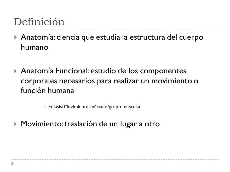 Definición Anatomía: ciencia que estudia la estructura del cuerpo humano Anatomía Funcional: estudio de los componentes corporales necesarios para rea