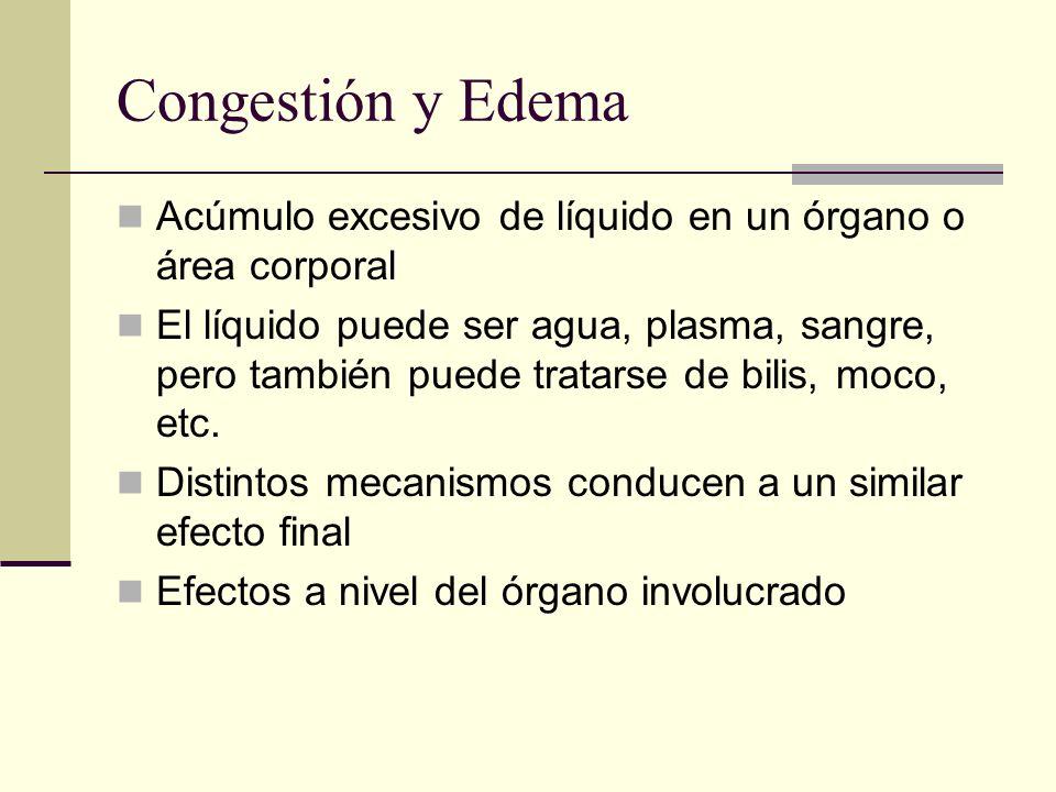 Congestión y Edema Acúmulo excesivo de líquido en un órgano o área corporal El líquido puede ser agua, plasma, sangre, pero también puede tratarse de