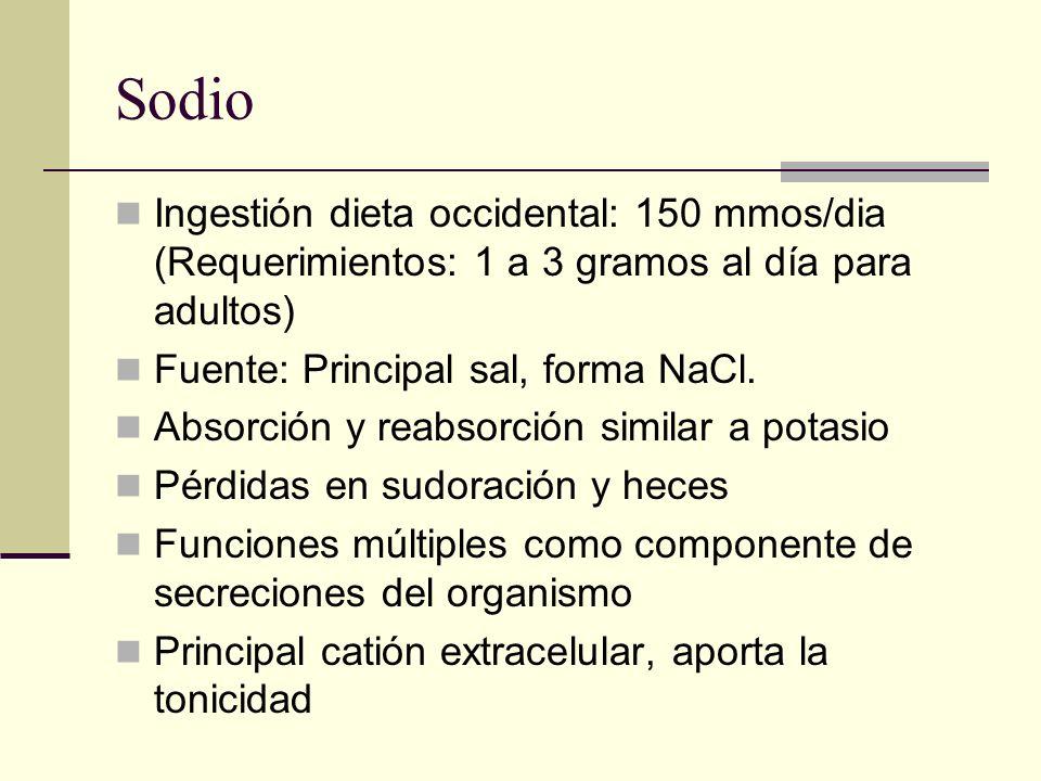 Sodio Ingestión dieta occidental: 150 mmos/dia (Requerimientos: 1 a 3 gramos al día para adultos) Fuente: Principal sal, forma NaCl. Absorción y reabs