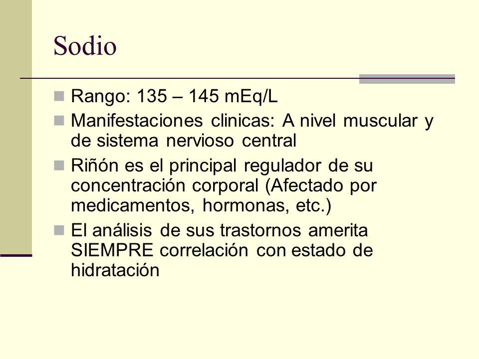Sodio Rango: 135 – 145 mEq/L Manifestaciones clinicas: A nivel muscular y de sistema nervioso central Riñón es el principal regulador de su concentrac