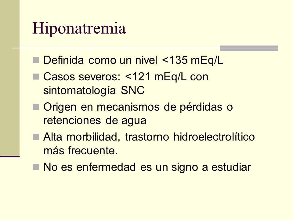 Hiponatremia Definida como un nivel <135 mEq/L Casos severos: <121 mEq/L con sintomatología SNC Origen en mecanismos de pérdidas o retenciones de agua