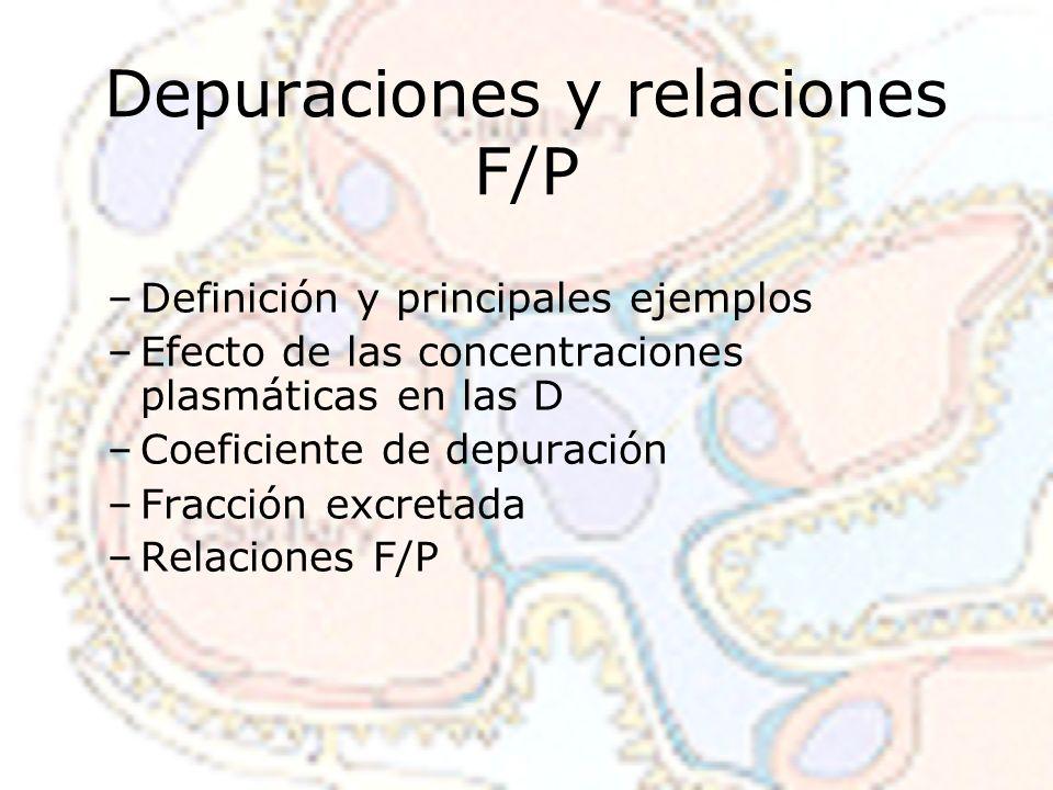 Depuraciones y relaciones F/P –Definición y principales ejemplos –Efecto de las concentraciones plasmáticas en las D –Coeficiente de depuración –Fracción excretada –Relaciones F/P