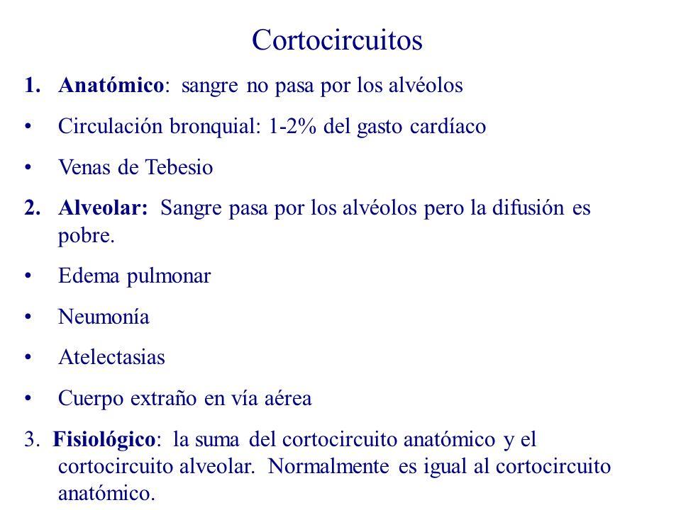 Cortocircuitos 1.Anatómico: sangre no pasa por los alvéolos Circulación bronquial: 1-2% del gasto cardíaco Venas de Tebesio 2.Alveolar: Sangre pasa po