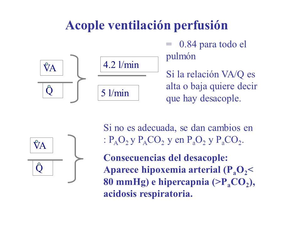 Acople ventilación perfusión VA Q Si no es adecuada, se dan cambios en : P A O 2 y P A CO 2 y en P a O 2 y P a CO 2. Consecuencias del desacople: Apar