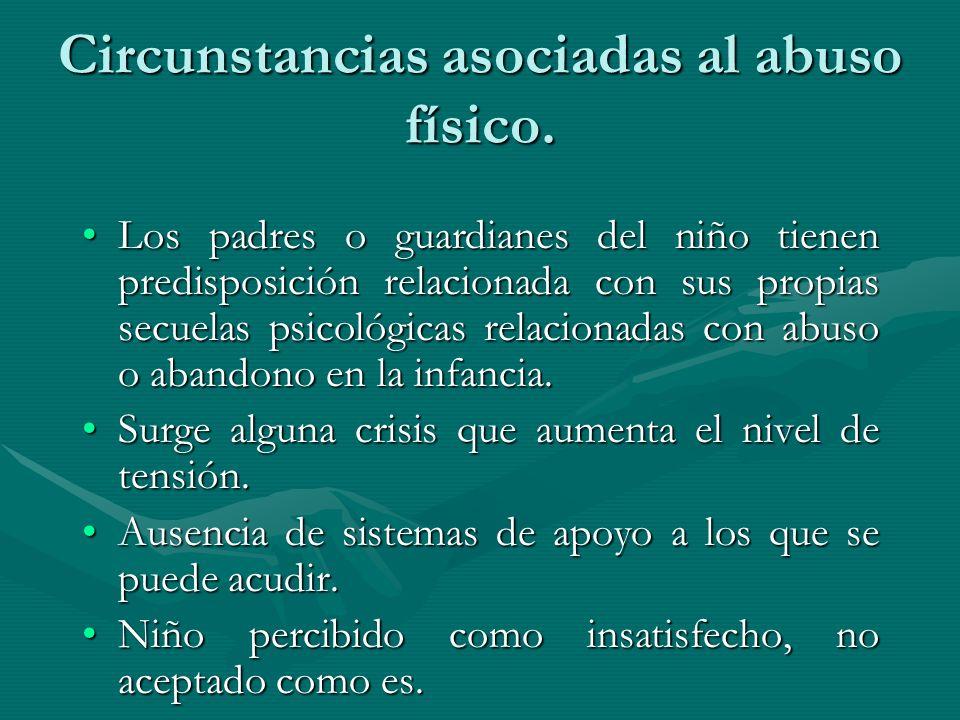 Circunstancias asociadas al abuso físico. Los padres o guardianes del niño tienen predisposición relacionada con sus propias secuelas psicológicas rel
