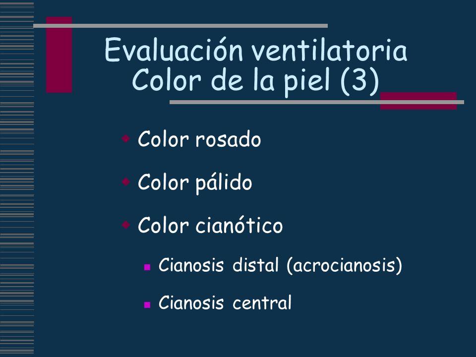 Evaluación ventilatoria Color de la piel (3) Color rosado Color pálido Color cianótico Cianosis distal (acrocianosis) Cianosis central