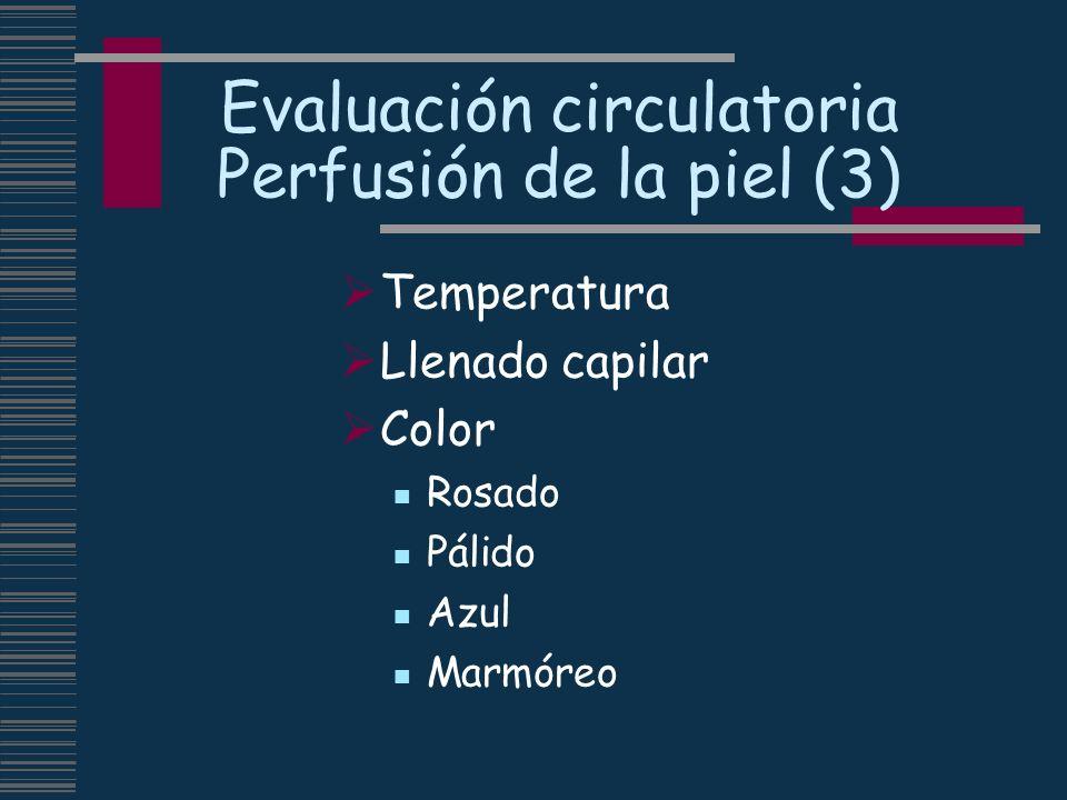Evaluación circulatoria Perfusión de la piel (3) Temperatura Llenado capilar Color Rosado Pálido Azul Marmóreo