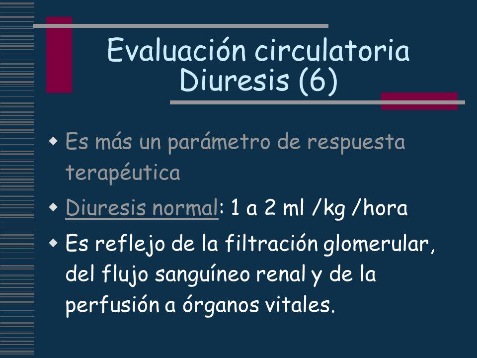 Evaluación circulatoria Diuresis (6) Es más un parámetro de respuesta terapéutica Diuresis normal: 1 a 2 ml /kg /hora Es reflejo de la filtración glom