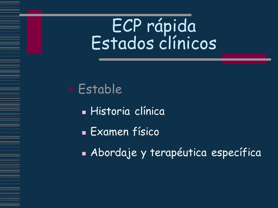 ECP rápida Estados clínicos Estable Historia clínica Examen físico Abordaje y terapéutica específica