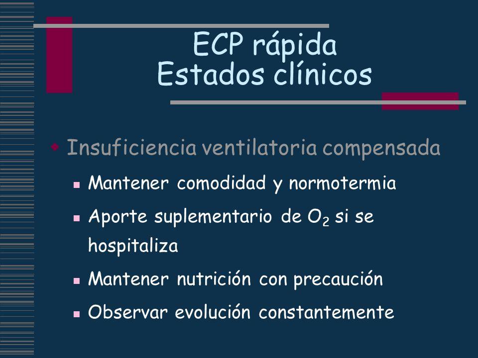 ECP rápida Estados clínicos Insuficiencia ventilatoria compensada Mantener comodidad y normotermia Aporte suplementario de O 2 si se hospitaliza Mante