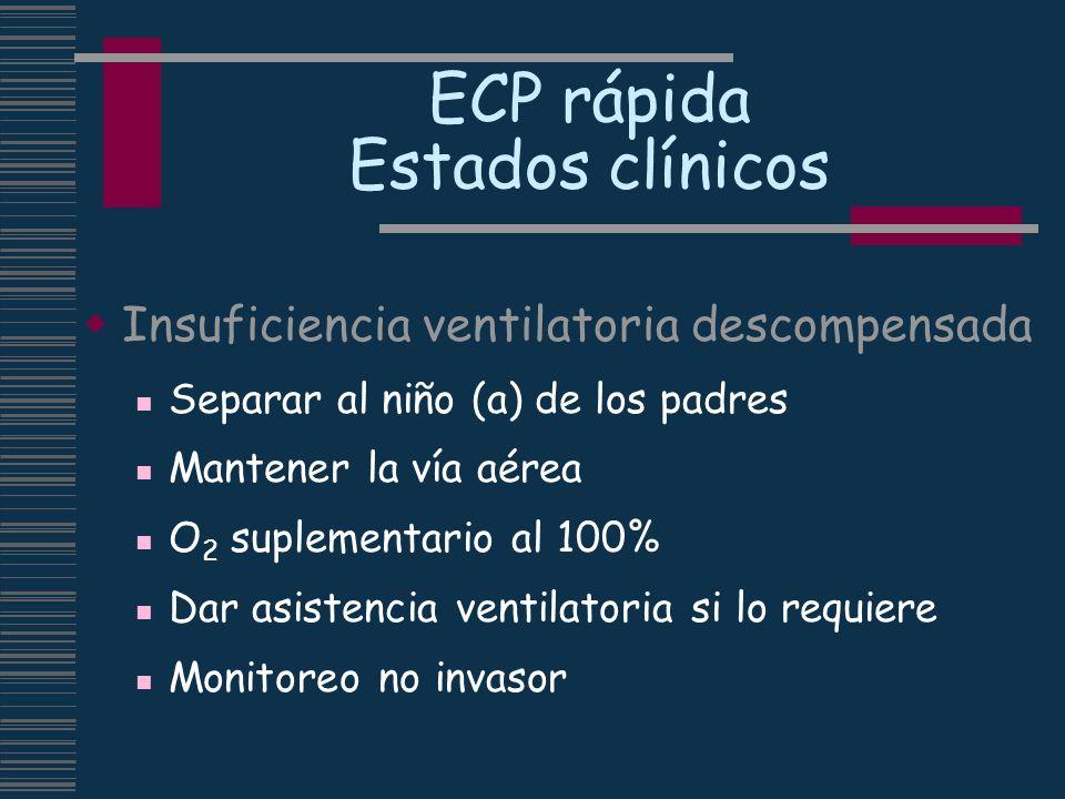 ECP rápida Estados clínicos Insuficiencia ventilatoria descompensada Separar al niño (a) de los padres Mantener la vía aérea O 2 suplementario al 100%