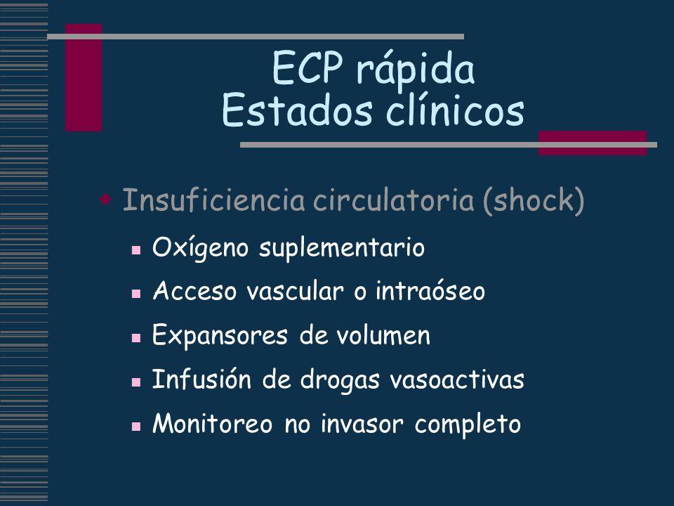 ECP rápida Estados clínicos Insuficiencia circulatoria (shock) Oxígeno suplementario Acceso vascular o intraóseo Expansores de volumen Infusión de dro