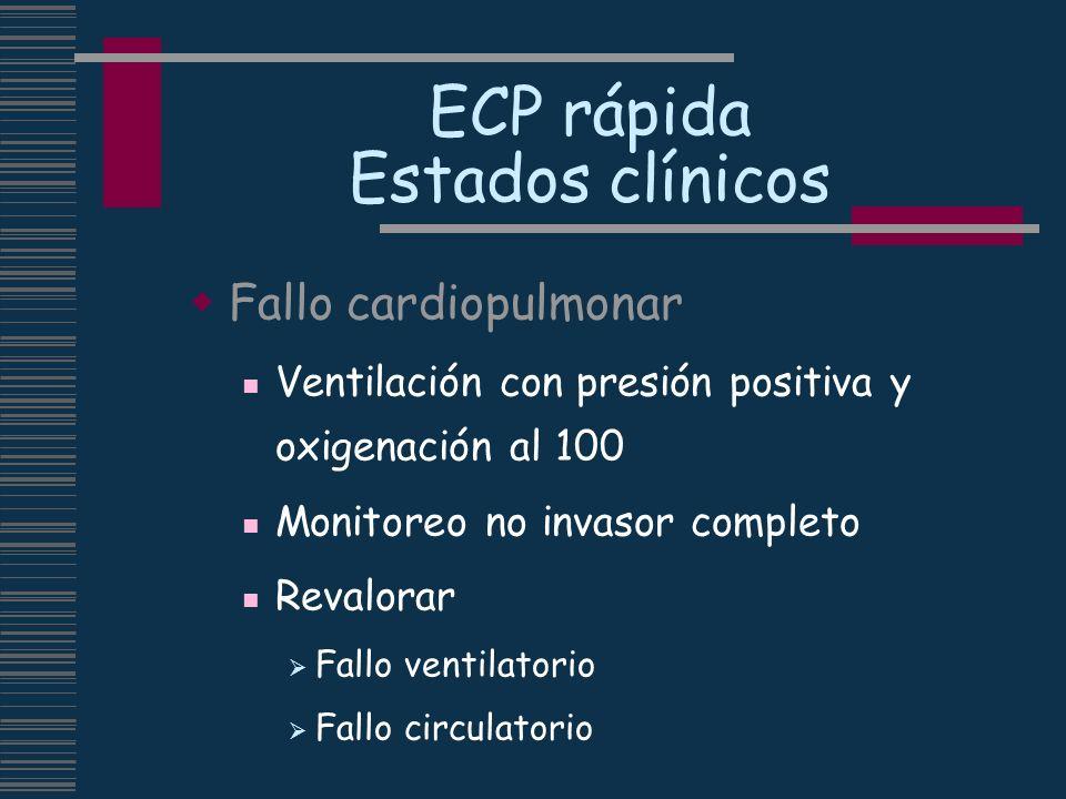 ECP rápida Estados clínicos Fallo cardiopulmonar Ventilación con presión positiva y oxigenación al 100 Monitoreo no invasor completo Revalorar Fallo v