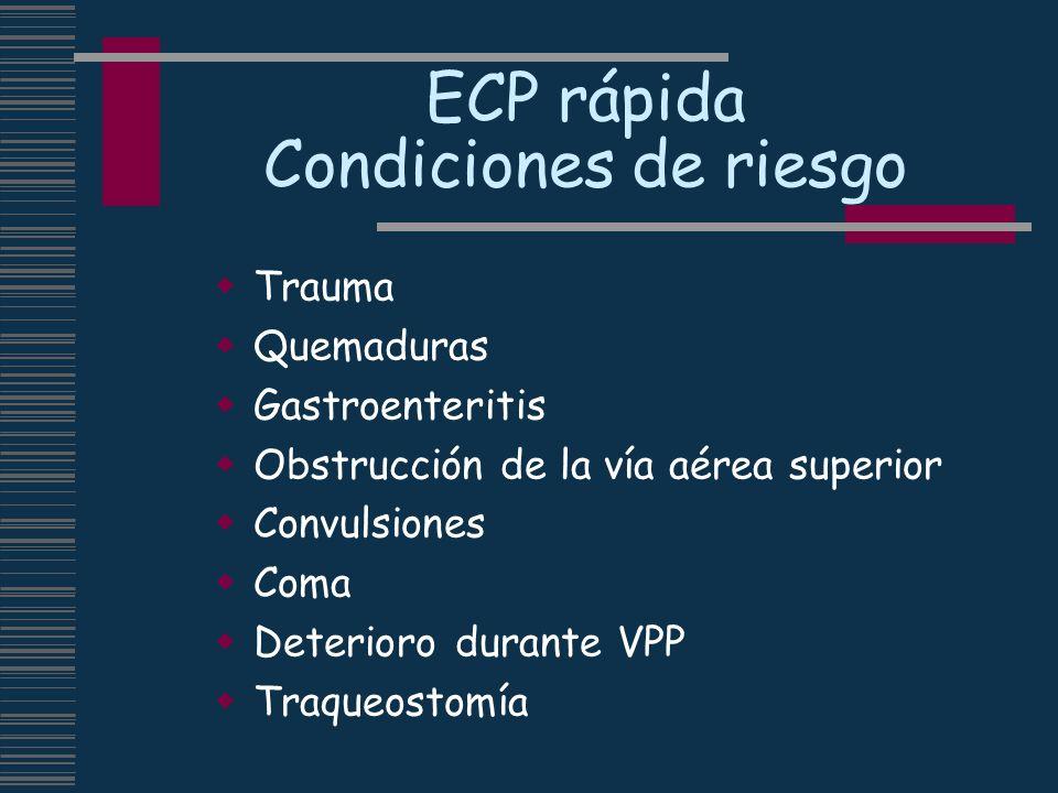 ECP rápida Condiciones de riesgo Trauma Quemaduras Gastroenteritis Obstrucción de la vía aérea superior Convulsiones Coma Deterioro durante VPP Traque