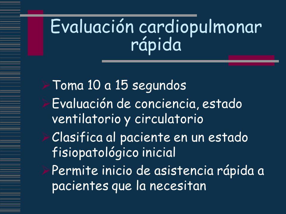 Evaluación cardiopulmonar rápida Toma 10 a 15 segundos Evaluación de conciencia, estado ventilatorio y circulatorio Clasifica al paciente en un estado