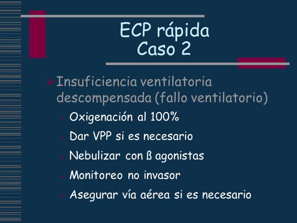 ECP rápida Caso 2 Insuficiencia ventilatoria descompensada (fallo ventilatorio) Oxigenación al 100% Dar VPP si es necesario Nebulizar con ß agonistas