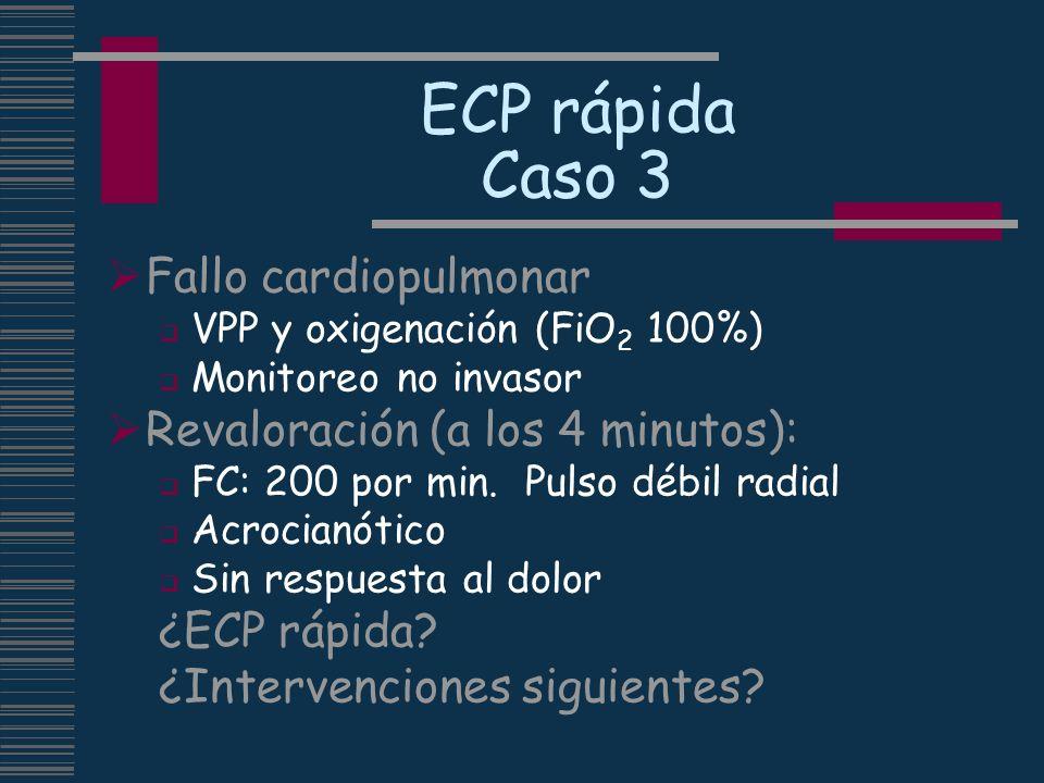 ECP rápida Caso 3 Fallo cardiopulmonar VPP y oxigenación (FiO 2 100%) Monitoreo no invasor Revaloración (a los 4 minutos): FC: 200 por min. Pulso débi