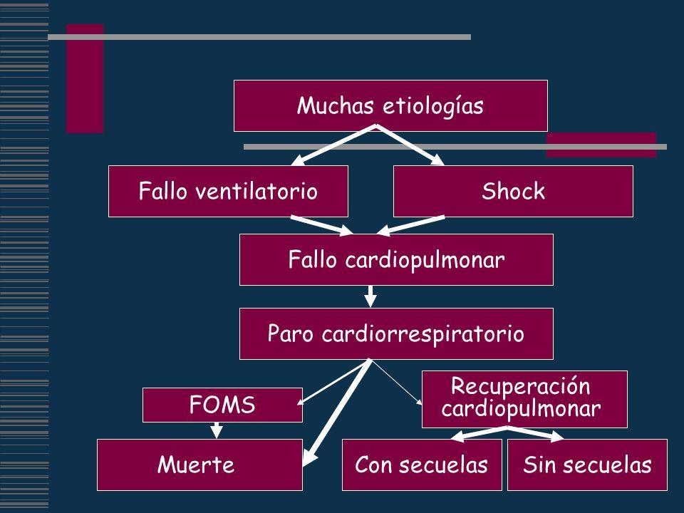 Muchas etiologías Fallo ventilatorioShock Paro cardiorrespiratorio Fallo cardiopulmonar Muerte Recuperación cardiopulmonar FOMS Con secuelasSin secuel