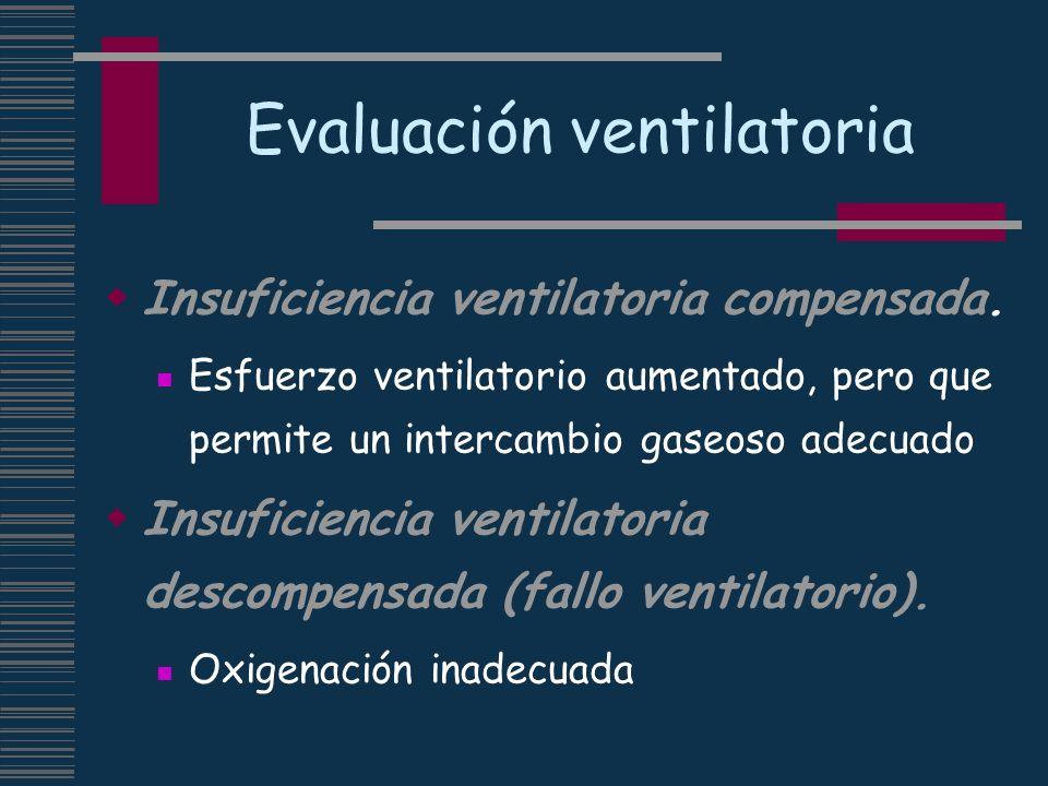 Evaluación ventilatoria Insuficiencia ventilatoria compensada. Esfuerzo ventilatorio aumentado, pero que permite un intercambio gaseoso adecuado Insuf