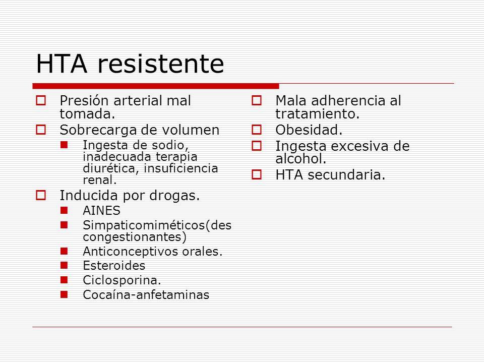 HTA resistente Presión arterial mal tomada. Sobrecarga de volumen Ingesta de sodio, inadecuada terapia diurética, insuficiencia renal. Inducida por dr