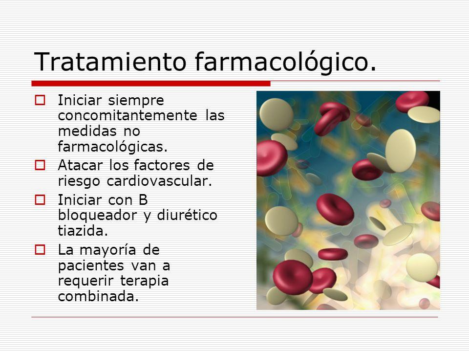 Tratamiento farmacológico. Iniciar siempre concomitantemente las medidas no farmacológicas. Atacar los factores de riesgo cardiovascular. Iniciar con